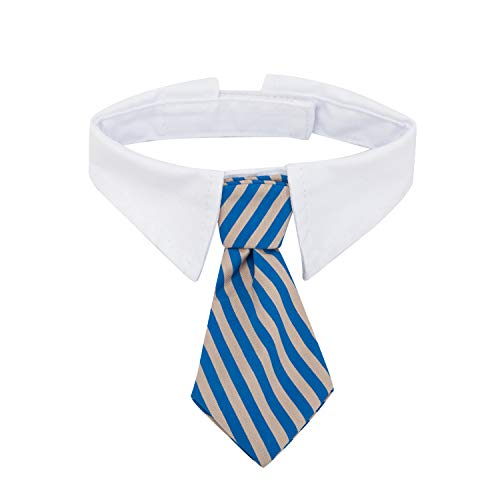 ZTON Pet Bowtie, Handcrafted Adjustable Formal Collar Neck Tie for Dogs & Cats (L, Blue Stripe)