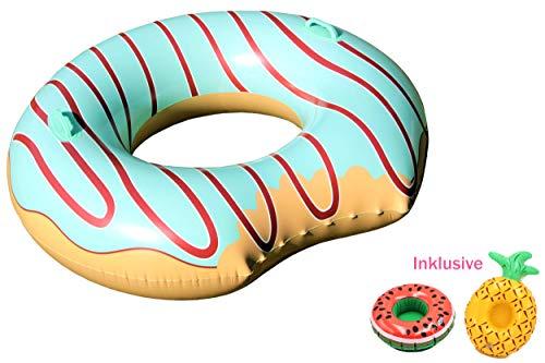 Aufblasbarer XL Schwimmreifen im Donut-Design, für Pool, Strand, Meer, See, Schwimmring, Schwimminsel, Donut aufblasbar + 2x Getränkehalter, Schwimmreif mit Haltegriffen (Türkis, ø 120 cm)