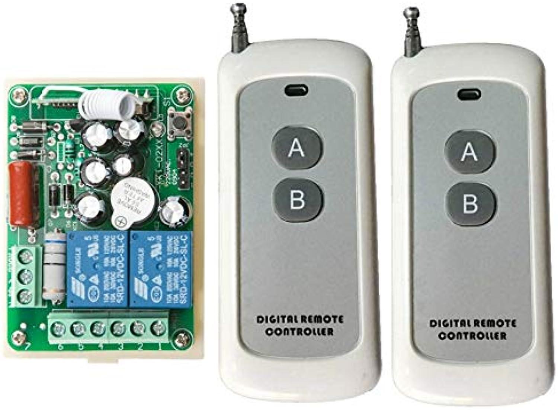 Calvas AC 220 V 10 A 2 Channel RF Wireless Remote Control 1 Receiver +2 Transmitter lamp Light Controller 300m