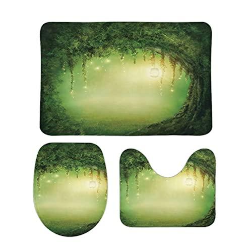 FoDuoDuo Bäume Duschvorhang; Feen-Dekor-Badezimmerteppich-Sets, 3-teilig, Badematte, U-förmiger Konturteppich, WC-Deckelbezug, 39,9 x 59,9 cm, rutschfeste Korallen-Samt-Badematten
