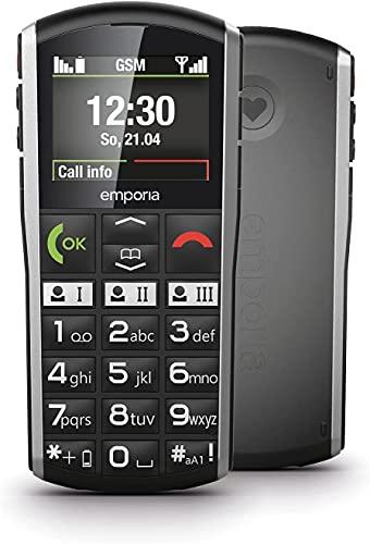 Emporia Simplicity Handy, 2 Zoll Farbdisplay, große Tasten, SOS-Taste, Ladestation, M4/T4, kompatibel mit Hörgeräten, Bluetooth, Black (Italien)