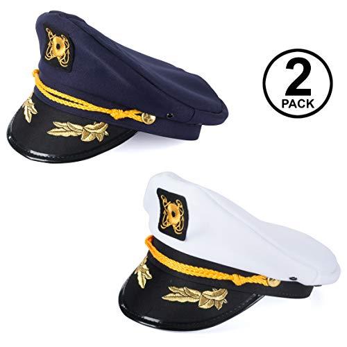 Tigerdoe Yacht Captain Hats - Marine Sailor Caps - Skipper Party - Nautical Costume Accessories (Yacht Captain Hat- 2 Pack)