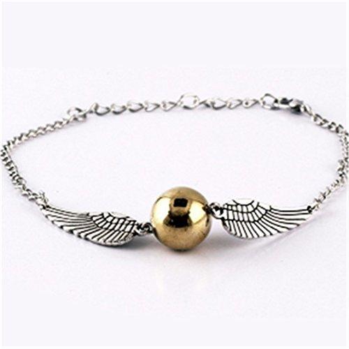 ZabrilA Snitch - Pulsera de oro con alas de ángel