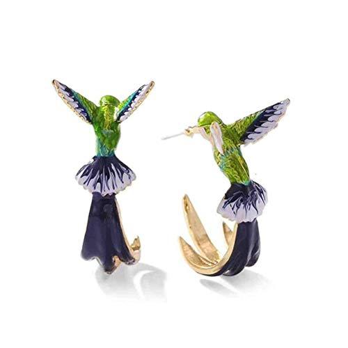 spier 1 Pairs Vintage Hummingbird Earrings, Cute Metal Stud Simulation Hummingbird Earrings for Women Girl Gift