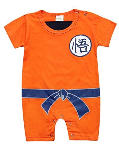 Askong Baby Jungen Halloween Cosplay Dragon Ball Z Son Goku Kurzarm Strampler Kleidung für 3 Monate - 3 Jahre Gr. 1-2 Jahre, Orange