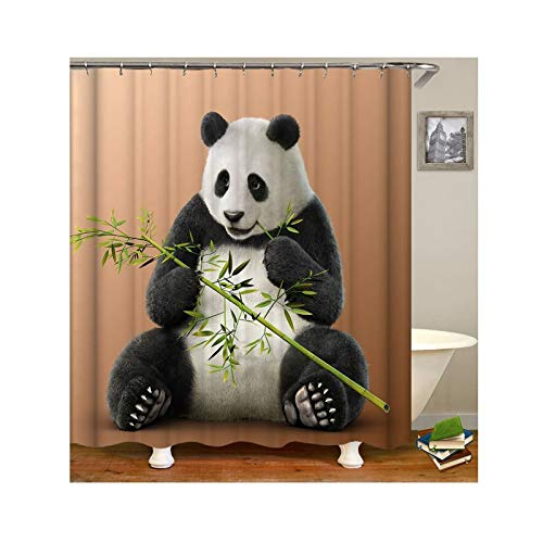 Knbob Polyester Duschvorhang Tier Panda Badewanne Vorhang 180x200CM mit 12 Duschvorhangringen