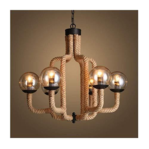 Chandeliers Industrial Suspension Light Boule en verre de fer Hemp-Rope E27 Décoration Ceiling Lampe, Living Room Cafe Bar Clothing Store Chandelier Suspendue Light, C-L