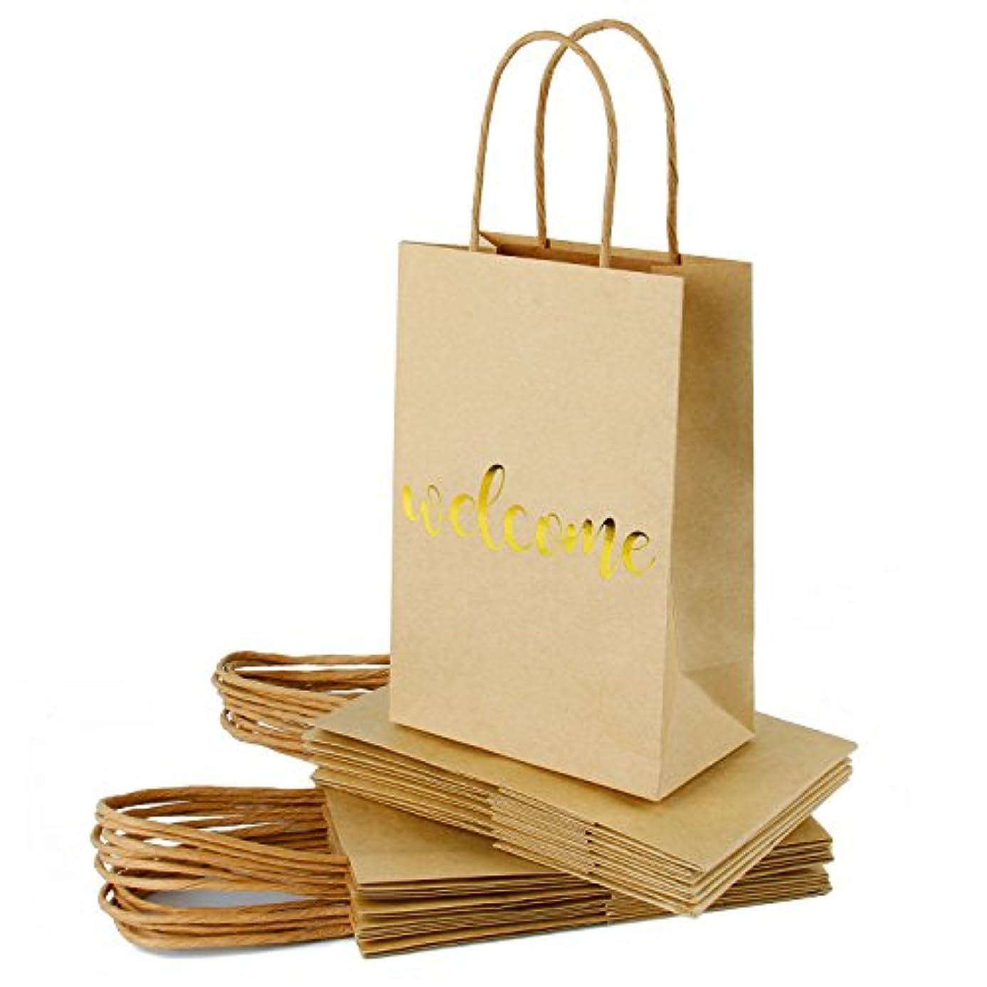 RUSPEPA Welcome Kraft Gift Bags -Gold Foil Kraft Paper Gift Bag Set Wedding,Birthday Present-12Pack -5-1/2