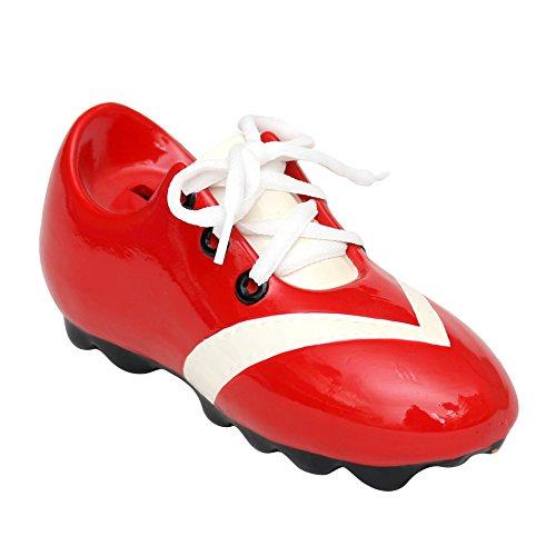 Alcancia en forma de zapato de fútbol con cordones tamaño 21 x 8 x 9,5cm rojo y blanco
