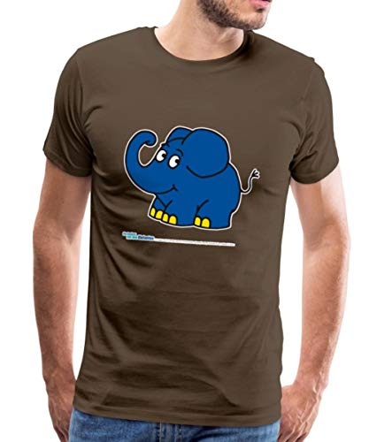 Sendung Mit Dem Elefanten Kleiner Elefant Lächelt Männer Premium T-Shirt, 4XL, Edelbraun