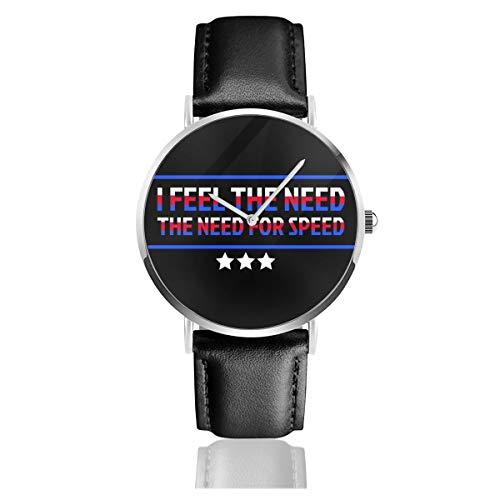 Montre à Quartz Unisexe avec Bracelet en Cuir Noir et Inscription « I Feel The Need The Need The Need for Speed Top Gun »