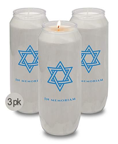 Yahrzeit Memorial Candles - Yahrzeit Candle 9-Day Burn Time - 3 Pack
