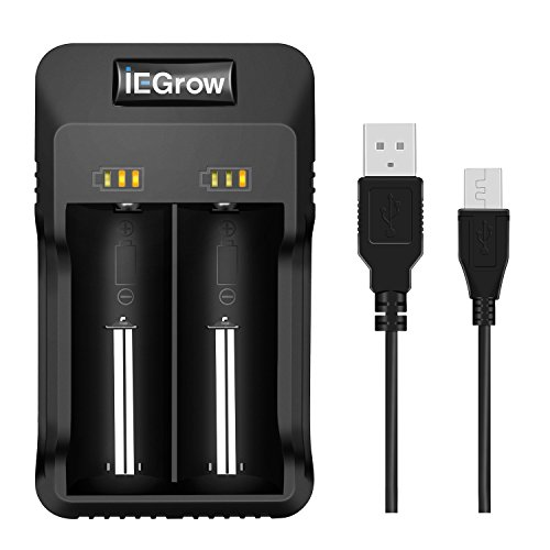 iEGrow Chargeur de Piles - 18650 Chargeur Piles Universel pour AA AAA Piles Rechargeables...