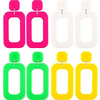 4 Pairs 80s Women Retro Earrings Geometric Dangle Neon Earrings for Party Costume Accessory  Color Set 2