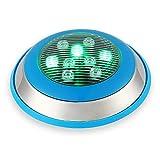 AYLYHD Luces Piscina Sumergibles Led, Impermeable IP68 Luces para Piscinas Montado En La Pared Leds En El Suelo Multi Color Luz de La Piscina, AC12V,7 Colores (Color : Green, Size : 6W)