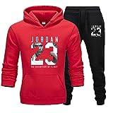 Jordania 23 # - Chándal deportivo de invierno para hombre, 2 unidades, gimnasio, baloncesto, ropa deportiva, casual, suéter, pantalones, D, XL