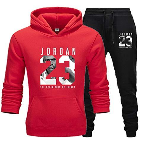 Herren 23# Jordan Wintersport-Anzug, 2 Stück, Gym Basketball Sportswear Jacke Casual Sport Sweater Hose, D, L