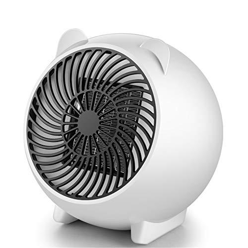 BEDSETS Calefactor Cerámico 500W Mini Ventilador De Calentacdor Eléctrico contra Sobrecalentamiento Y Protección contra Volcado para Oficinas Y Hogar (White)