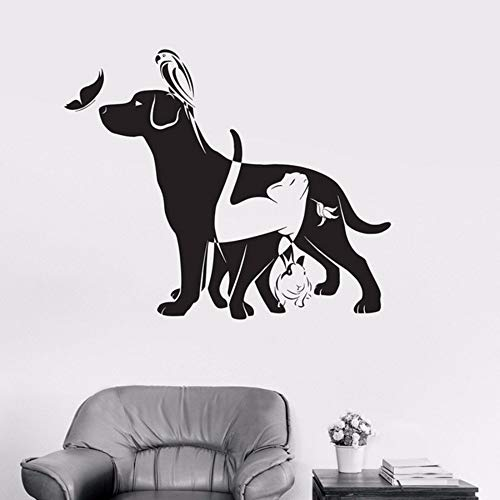LLLYZZ hond kat vogel konijn dier dierenarts vinyl wandtattoo wooncultuur DIY kunst wandfoto behang afneembare muursticker 57 * 62 cm