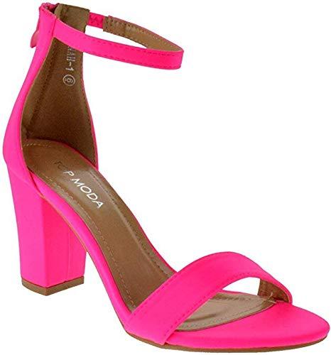 Over the Toe Strap Ankle Wrap Strap Heel Open Toe Medium Heel, Neon Hot Pink, 6