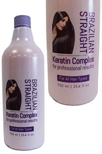 Brazilian Straight, Keratin Complex Treatment 750ml, Salon Bottle for...