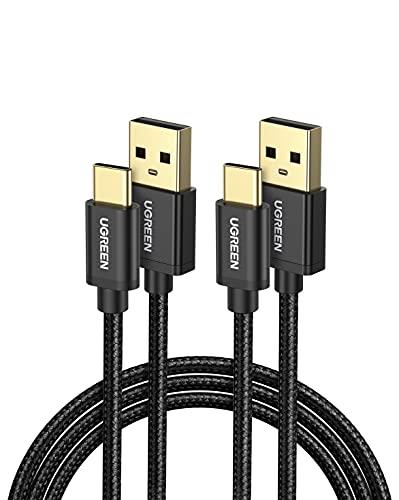 UGREEN 2X Cable USB C, Cable USB Tipo C a USB A 2.0 Nylon Trenzado Carga Rápida para Móvil USB Type C Samsung S10 S9 A50 S8, Xiaomi Redmi Note 8 Redmi Note 7 Mi 9 Mi A3 Mi A2, BQ Aquaris X, 1 Metro