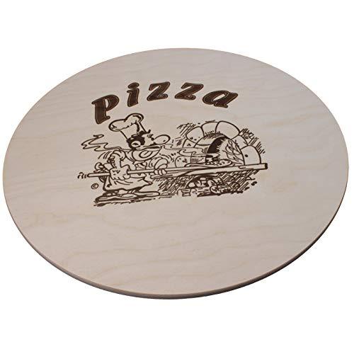 DEKOFANT Pizzabrett Holz Ø 40 cm Pizzateller groß mit Kult Pizza Logo