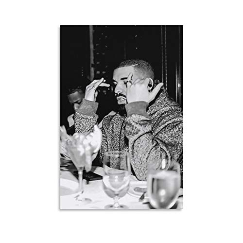 AWJT Drake Black and White Poster Cool Artworks Painting Wall Art Canvas Prints Hanging Picture Home Decor Posters Gift Idea 12×18inch(30×45cm)
