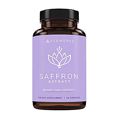 Pure Saffron Extract Supplement - Natural Weight Loss Aid - Healthy Metabolism Support - Promotes Energy & Mood - Anti Stress & Anxiety - Eye Health - For Women & Men at 88.5mg (90 Capsules)