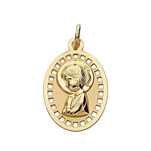 Medalla Oro 9K Virgen Niña 23mm. Oval Bordes Detalle Calado - Personalizable - Grabación Incluida En El Precio