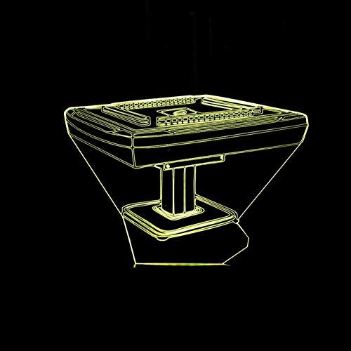 Yujzpl 3D Optische Illusions-Lampen, 3D Nachtlicht,Tolle 7 Farbwechsel-Nachtlicht Mit Usb Kabel-Für Kinder Schlafzimmer Geburtstagsgeschenke Geschenk-Mahjong Tisch