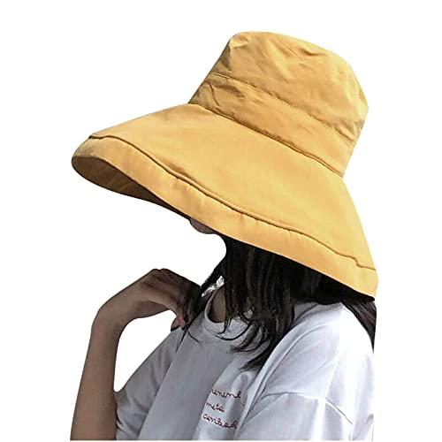Chyang Mujeres Plegables Color sólido Pescador Sombrero Elegante Playa señoras Sol Sombreros UPF 50+ Empacable Ancho ala ala para Mujer UV Algodón Safari Caminando Cubo de jardinería