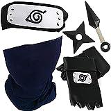 Blesser Naruto Cinta para el pelo Konoha Kakashi - Máscara de Naruto - Guantes Kunai y Shuriken de plástico, Kakashi Cosplay Amine Naruto - Diadema de metal negro