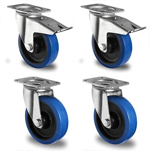 Cascoo Blue Wheels Ruedas de Transporte, diámetro 80 mm, Juego de 4, Ruedas giratorias, Tope, Placa de Freno