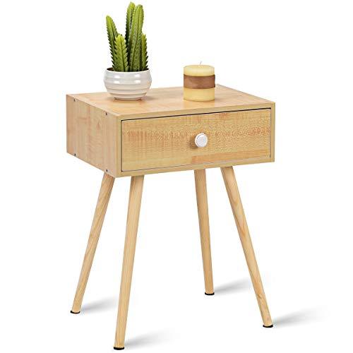COSTWAY Nachttisch mit Schublade, Nachtkommode Nachtschrank Nachtkonsole Flurtisch Ablagetisch Telefontisch