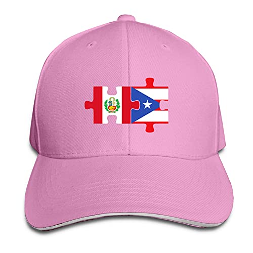 XCNGG Gorra para Hombres y Mujeres, Perú Puerto Rico Flags Puzzle Gorra sándwich de Pico Ajustable Casquette Sombrero de Vaquero