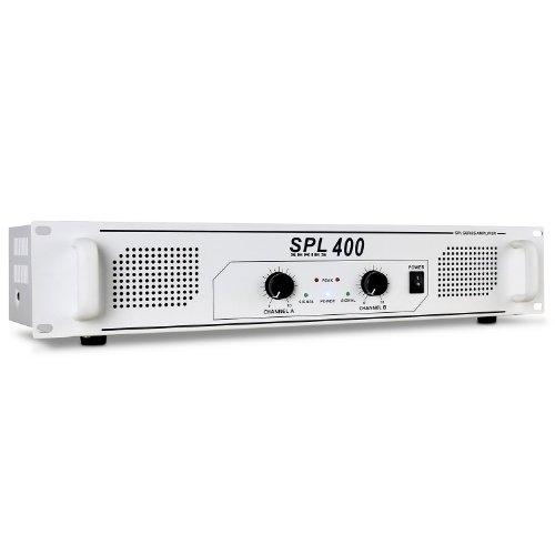 Skytec SPL400 schneeweißer PA-Verstärker PA Endstufe (400W RMS, Stereo-Chinch-IN, geeignet zum 48cm Rack-Einbau ) weiß