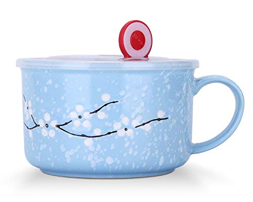 VanEnjoy 30oz Ceramic Bowl Set with Lid & Handle,Cherry Blossoms Among Snow Flake Pattern,Microwave for Instant Noodle Sara, Cereal Bowl (Blue)