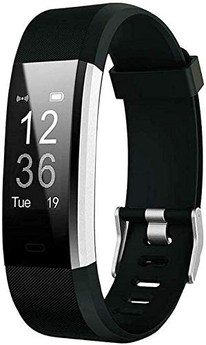 Waylon ID116 Plus Bluetooth Smart Fitness Band Watch with Heart Rate Activity Tracker Waterproof Body, Step and Calorie Counter, Blood Pressure, Distance Measure, OLED Touchscreen for Men/Women, Black