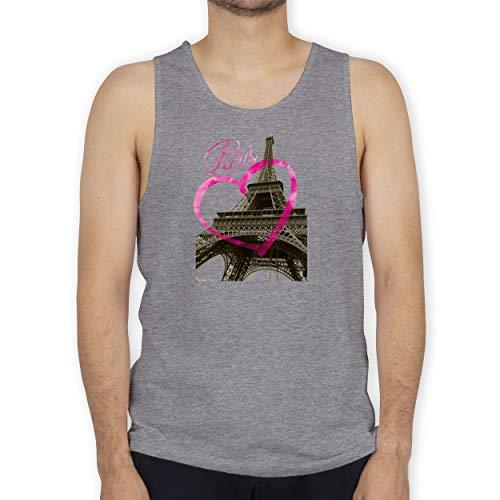 Shirtracer Städte - I Love Paris - XXL - Grau meliert - Pink - BCTM072 - Tanktop Herren und Tank-Top Männer