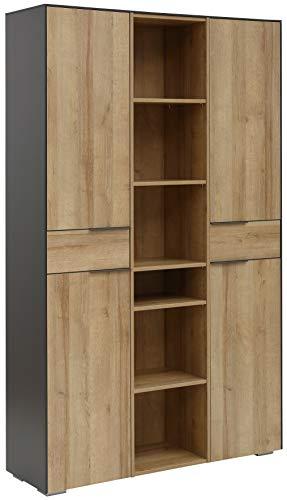 MAJA Möbel YOLO Aktenschrank, Holzwerkstoff, anthrazit - Riviera Anthrazit, 207,4 x 48,5 x 49,1 cm