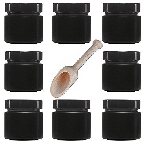 mikken 8X Gewürzglas 125 ml, Schwarze Glasdosen inkl. Gewürzschaufel