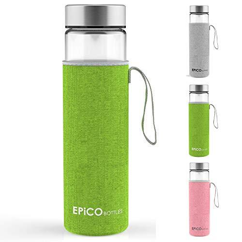 Epico Bottles - Botella de agua, cristal, con funda de neopreno, 600 ml Ideal para usar como botella deportiva o para los pequeños. Sin BPA., verde, 600ml (sans passe-thé)