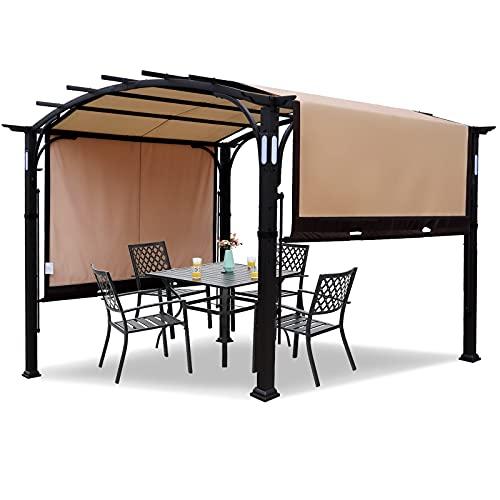 Warmally 10'x8' Pergola Patio Gazebo Kits Canopy Garden Outdoor Ventilation and Airflow Polyester Waterproof Heavy Duty (Beige, 10'x8')