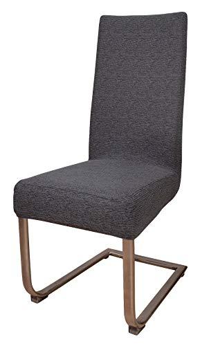 HomeEdition 2er Pack Stretch Stuhlhusse mit Streifen-Struktur, anthrazit-schwarz