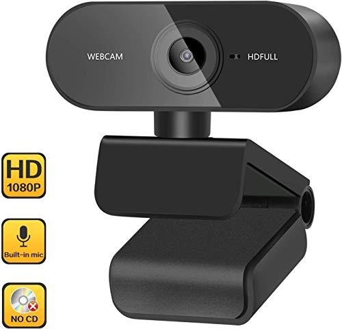 RHESHINE Webcam 1080P mit Mikrofon, PC Laptop Desktop USB 2.0 Webkamera für Videoanrufkamera, Telearbeit, Online Kurs und Heimarbeit
