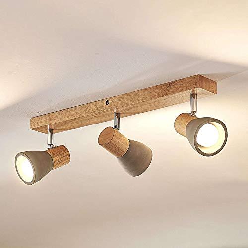 Lindby LED Deckenlampe Holz Beton | Deckenstrahler schwenkbar & drehbar | inkl. 3x4,5W LED A+ austauschbar | 3.000K | Deckenleuchte, Strahler