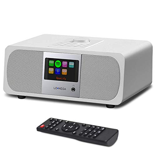 LEMEGA M3A Internet DAB/DAB + Radio digitale, Radio digitale FM con Spotify Connect Bluetooth, AUX, USB, MP3 e Altoparlante stereo a 2.1 canali - Bian
