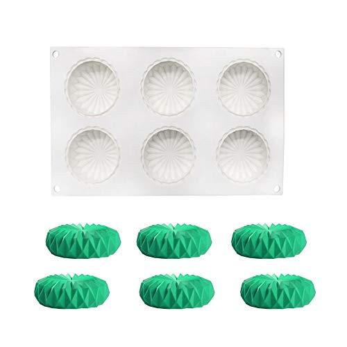 molde de silicona 3d, Moldes de silicona para postres pudín chocolate, 6 cavidades Forma de origami redondo, Blanco