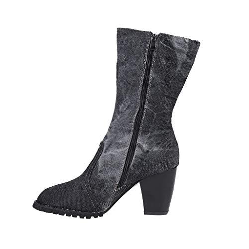 Damen Rom Schuhe Große Größe Reißverschluss Square Med Heels Kurze Stiefel Damen Cowboy Stiefel Knöchelhohe Komfort Sportschuhe Einheitsgröße dunkelgrau